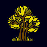 Art fantasy illustration of tree, stylized eco symbol. Graphic d Royalty Free Stock Photo