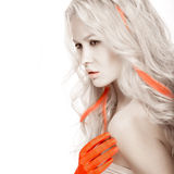 Art fashion girl with white skin in form of albinos, red arms and lock hair. Creative beauty image . Stock Photo