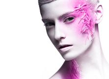 Art fashion girl with white skin and pink paint on. The face. Creative art beauty. Picture taken in the studio on a black background Royalty Free Stock Images