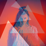 Art fashion portrait abstract color triangles on Royalty Free Stock Images