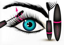 Art fashion vector conceptual background with beautiful blue eye Stock Photo