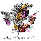Art feather vector background with colorful butterfly wings and royalty free illustration