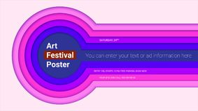 Art festival poster design with multi layers carving of paper. Abstract pattern of cut colored paper. Horizontal vector. Template with text design. 3D Stock Photo