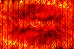 Art fire burning metal wall. Pattern illustration background Stock Photos