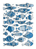 Art fish collection, sketch for your design Stock Images