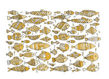 Art fish collection, sketch for your design Royalty Free Stock Photography
