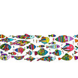 Art fish collection, sketch for your design Royalty Free Stock Images