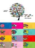 Art fish tree. Design calendar 2017. Vector illustration vector illustration