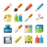 Art flat icons set. Art and paint flat icons set Stock Photo