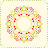 Art Floral circle frame for flyers, brochures. Floral circle frame for flyers, brochures, templates design. Vintage card with flower patterns and ornaments Royalty Free Stock Image