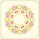Art Floral cirkelram för reklamblad, broschyrer Royaltyfri Bild