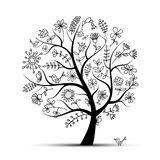 Art floral tree black for your design Stock Photography