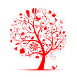 Art floral tree red for your design Stock Photo