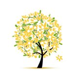 Art floral tree yellow for your design Royalty Free Stock Images