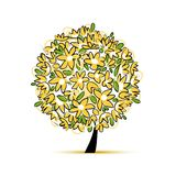 Art floral tree yellow for your design Stock Photo