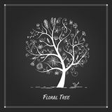 Art floral tree for your design on black background Stock Photography