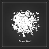 Art floral tree for your design on black background Royalty Free Stock Photos