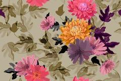 Art floral vector seamless pattern. Autumn flowers