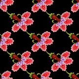 Art flower seamless pattern on the background. Stock Photo