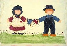 Art folklorique de deux personnes retenant un panier photo stock