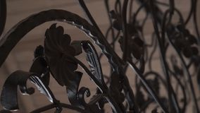 Art forging elements and iron fence. Rough Metal Curly Decorative Elements . Vintage decor Elements. Fence Design Stock Image