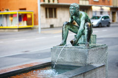 Art fountain in street,Zurich Stock Photos