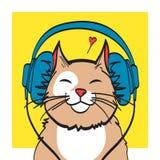 Art frais de vecteur de chat avec l'écouteur photo de musique, ENV 10 sur des couches Photos stock