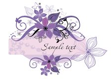 Art frame. Vector drawing of the art frame decorated with flowers Stock Photography