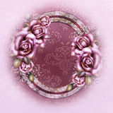 Art Frame with digitally painted roses Stock Photo