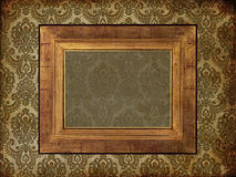 Art frame on pattern paper. Art old frame on pattern paper Royalty Free Stock Photography