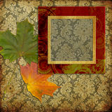 Art frame on pattern wallpaper Stock Images