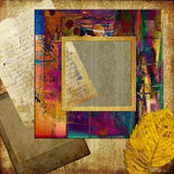 Art frame on pattern wallpaper Royalty Free Stock Photos