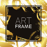 Art frame square. Gold gradient elements. Brush strokes for the background of poster. Modern design. Hand made spots and Stock Photo