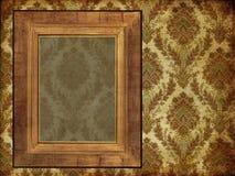 Art frame on wallpaper. Art frame on pattern wallpaper Royalty Free Stock Photo