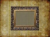 Art frame on wallpaper. Art frame on pattern paper Stock Photo