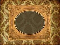 Art frame on wallpaper. Art frame on pattern paper Royalty Free Stock Photos