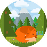 Art-Fuchsschlaf der Karikatur flacher auf im Wald sich klären Stockbilder