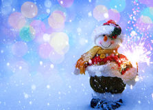 Art funny Snowman Christmas card Royalty Free Stock Image