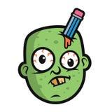 Art Funny Zombie Head Character design Royaltyfria Bilder