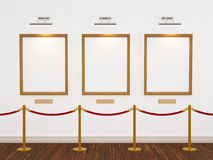 Art gallery. With three frames and lights. 3d illustration Royalty Free Stock Photography