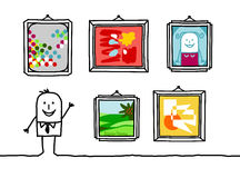 Art gallery. Vector hand-drawn characters line Royalty Free Stock Images