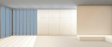 Art Gallery Clean e janela no contemporâneo branco da parede Imagens de Stock