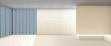 Art Gallery Clean and window on white wall contemporary. And working studio / 3d rendering Stock Images