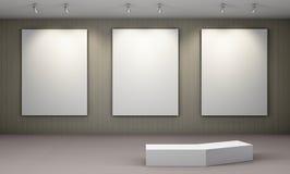 Art Gallery con el cartel en blanco Fotos de archivo