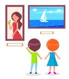 Art Gallery Excursion för skolbarnvektor vektor illustrationer