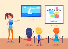 Art Gallery Excursion School Children with Guide. Art gallery excursion for school kids back view with guide. Woman pointing on sea with sailboat, children Stock Photography