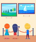 Art Gallery Excursion for School Children Vector. Art gallery excursion for school children. Kids watching on seascape with sailboat, landscape with trees vector Stock Images