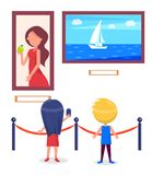 Art Gallery Excursion for School Children Vector. Art gallery excursion for school children. Kids watching on seascape with sailboat, woman portrait vector Stock Image