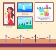 Art Gallery Exhibition avec le coup de photos sur le mur Photos stock