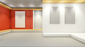 Art gallery exhibition Contemporary display and pictures frames on wall. / 3d rendering Royalty Free Stock Image